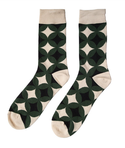 Olive/Black/Cream Circle Geometric Socks, Well Done Goods