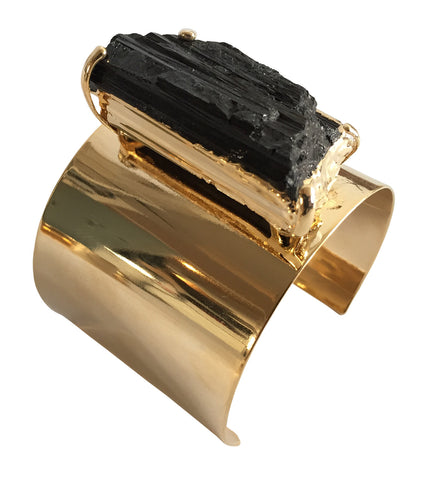 Big Black Tourmaline Stone Cuff, Raw Jewel Bracelet, by Well Done Goods