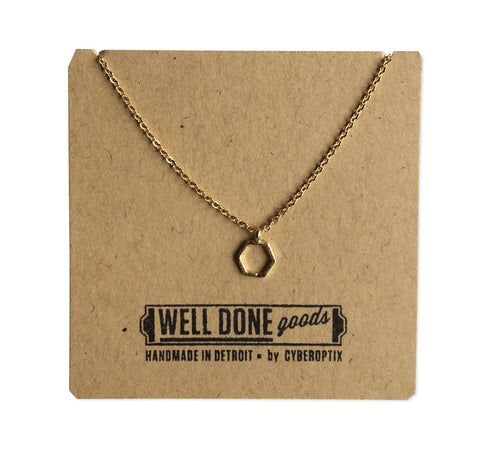 Open Tiny Hexagon Geometric Necklace, Gold Hexagon Charm, by Well Done Goods