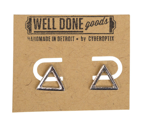 Open Triangle Silver Stud Earrings, Well Done Goods
