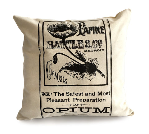 Opium Apothecary Label Throw Pillow, Poppy Print. Well Done Goods by Cyberoptix