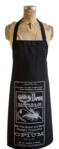 Opium Apothecary Label Polyester Chef Apron, Vintage Ad, Well Done Goods