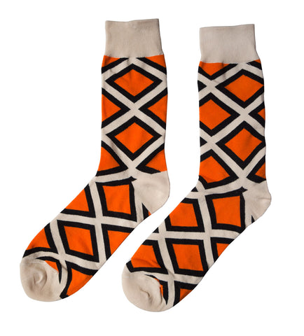 Geometric Print Socks: Cream, Black & Orange Diamonds, Well Done Goods