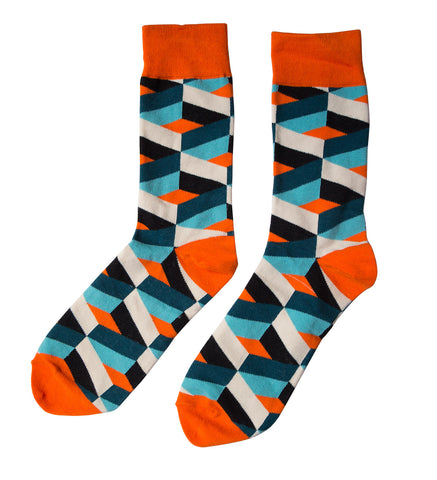 Orange/White/Blue Geometric Socks, Well Done Goods