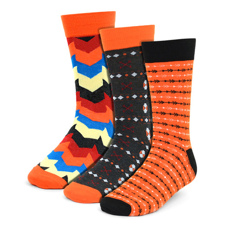 Parquet Fancy Socks, Orange Casual 3-Pack