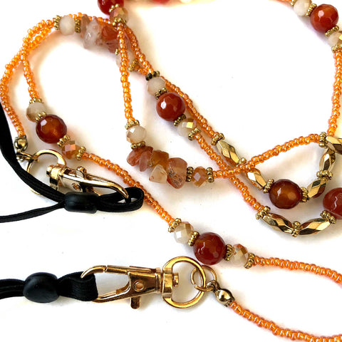 Carnelian Stone & Orange Seed Bead Mask Chain, mask leash