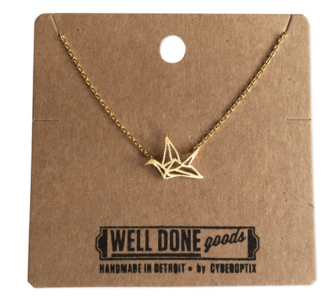 Origami Paper Crane Necklace, Gold Delicate Necklace, by Well Done Goods