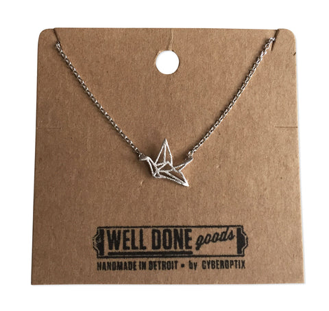 Origami Paper Crane Necklace, Silver Delicate Necklace, by Well Done Goods