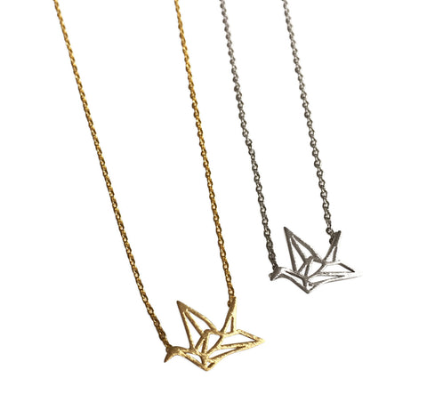 Origami Paper Crane Necklaces, by Well Done Goods