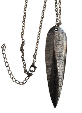 Orthoceras Fossil Pendants, Ancient Cephalopod Necklace, by Well Done Goods