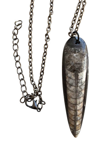 Orthoceras Fossil Pendant, Small Black Marble Necklace, by Well Done Goods
