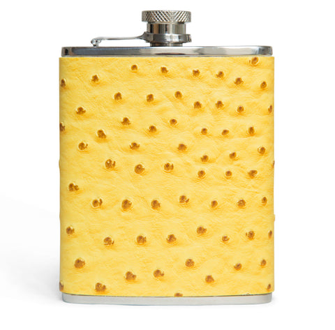 Yellow Ostrich Leather & Stainless Steel 6 oz. Flask, by Brouk & Co., at Well Done Goods