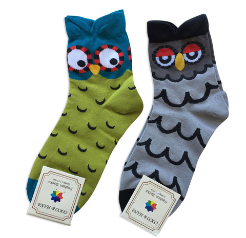 Cute Owl Face Socks, Well Done Goods