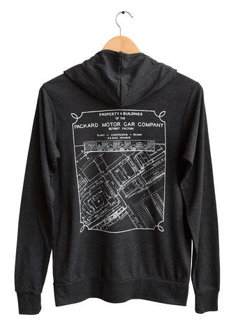 Packard Plant Engineering Blueprint Zip Hoodie. Lightweight Triblend Jersey, Well Done Goods