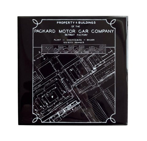 Packard Plant Engineering Blueprint Drink Coaster, Well Done Goods