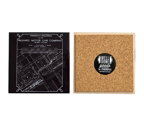 Packard Automotive Plant Engineering Blueprint, Detroit Drink Coaster, Well Done Goods