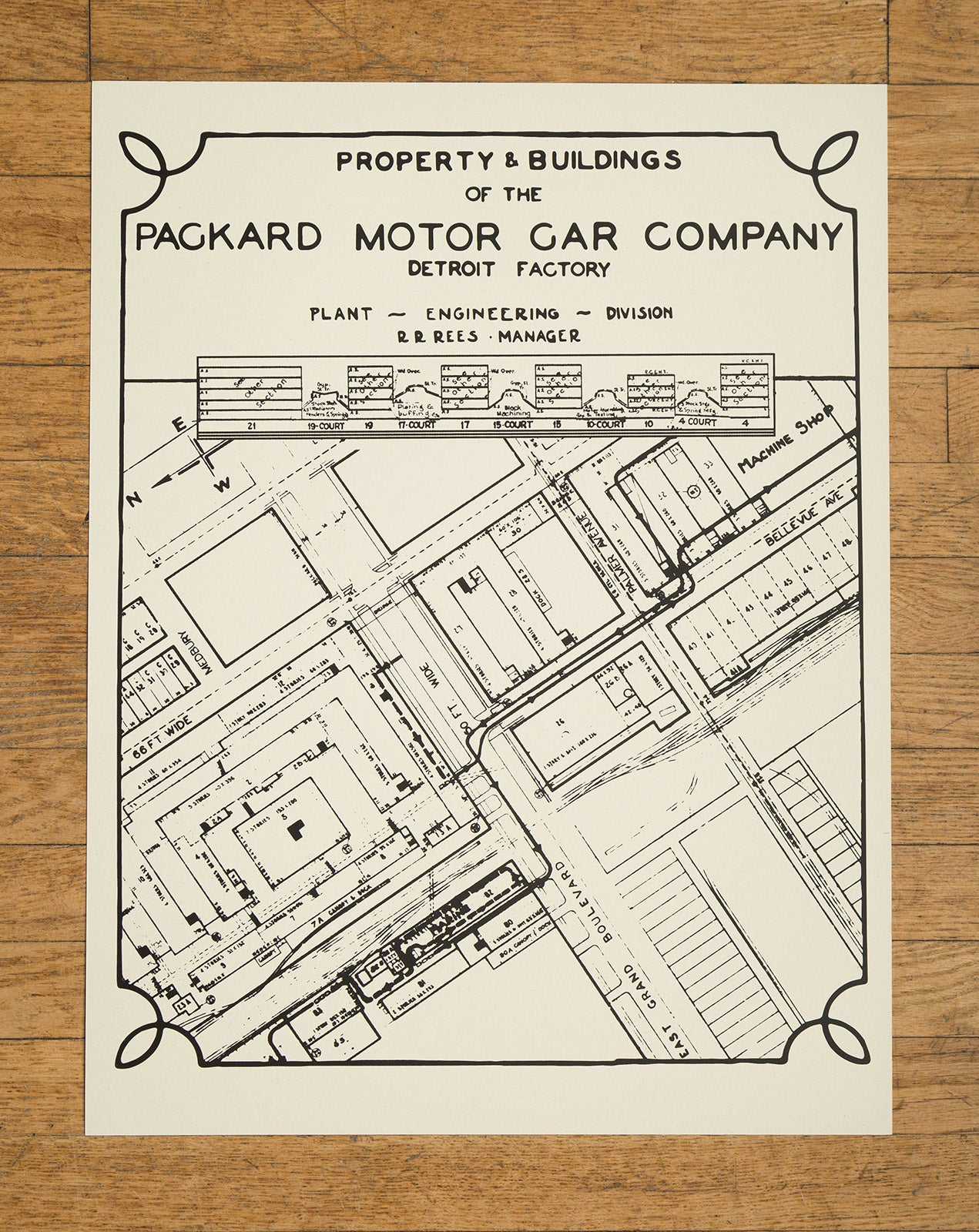Packard plant engineering blueprint silkscreened poster print packard plant engineering blueprint silkscreened poster print 19x 25 malvernweather Image collections