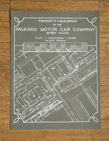 "Packard Plant Engineering Blueprint Silkscreened Poster Print, 19""x 25"""
