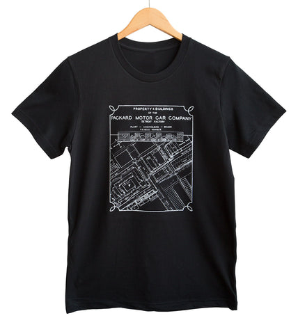 Packard Plant Engineering Blueprint White on Black T-Shirt, Well Done Goods