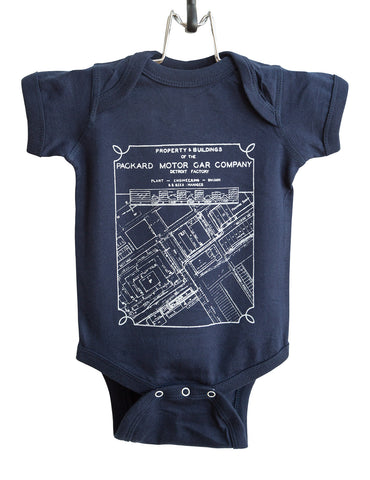 Packard Plant Engineering Blueprint White on Navy Baby Snapsuit, Well Done Goods