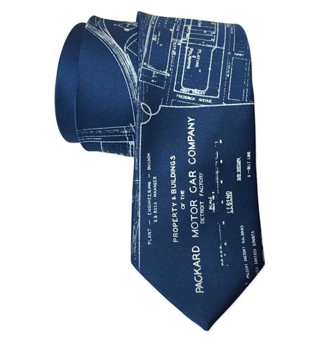Packard Plant Engineering Blueprint Necktie, Platinum on French Blue Tie, by Cyberoptix