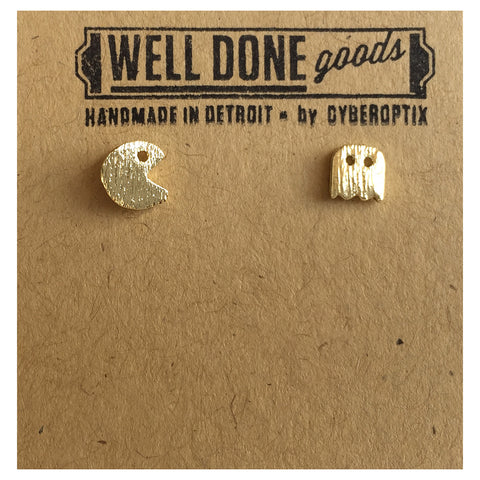 Pac Man & Ghost, 80s Arcade Stud Earrings. Gold. Well Done Goods
