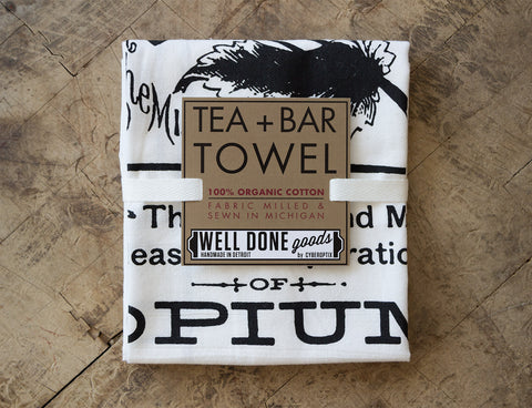 Opium Apothecary Label Organic Cotton Flour Sack Towel, Screen-printed Poppy Print, Well Done Goods by Cyberoptix