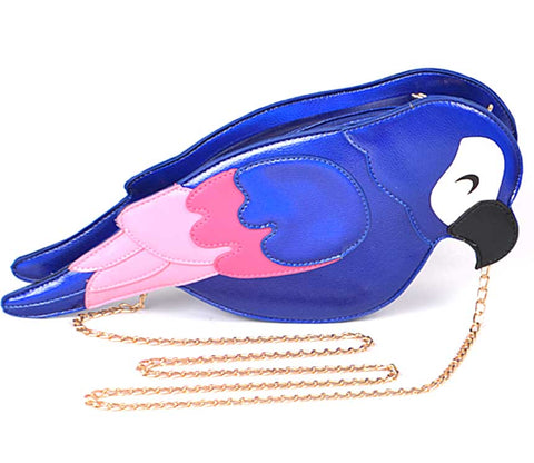 Parrot 3D Purse, Metallic Cobalt Blue Crossbody Bag. Well Done Goods