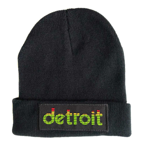 Peak Detroit, LED Audio Level Meter Beanie Cap, Black. Well Done Goods