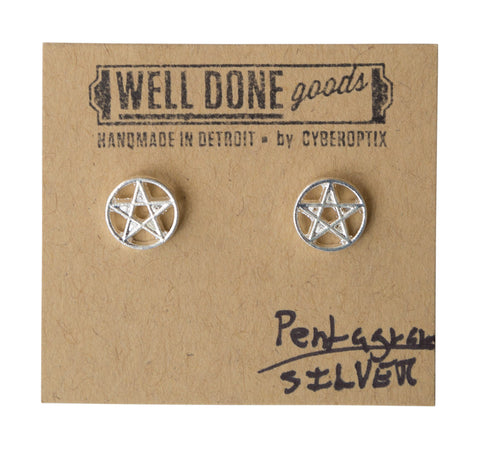 Pentagram Silver Stud Earrings, Well Done Goods