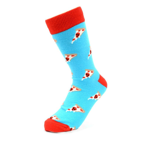 Pizza Skull Socks, Blue. Men's Fancy Socks by Parquet