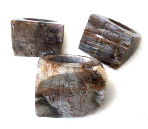 Petrified Wood Chunky Statement Ring