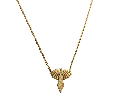 Phoenix Pendant Necklace, gold tone finish, by Well Done Goods