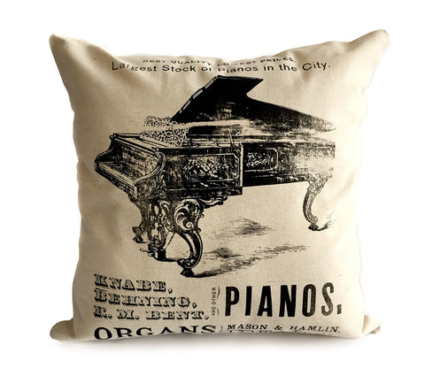 Piano Print Pillow, Vintage Detroit Advertising Silkscreen print. Well Done Goods by Cyberoptix