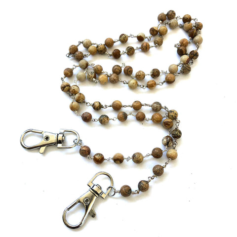Picture Jasper Stone Bead Mask Holder. Facemask lanyard, mask leash