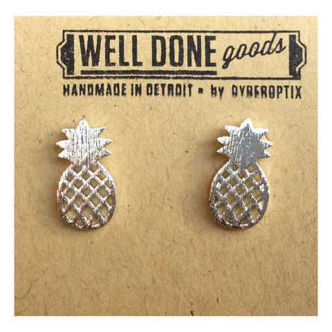 Silver Pineapple Stud Earrings, Well Done Goods
