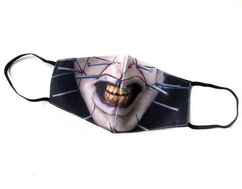Pinhead Mask, Hellraiser Inspired Cloth Face Cover. Cenobite, Hand Made in Detroit, USA
