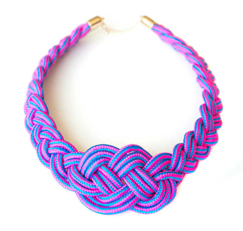Sailor Knot Woven Rope Statement Necklace, pink & blue stripe. Well Done Goods