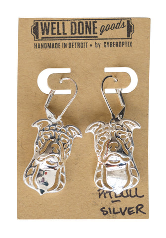 Pitbull Silver Dangle Earrings, Well Done Goods