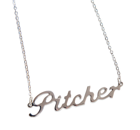 Pitcher Script Necklace, Silver. Baseball Theme Pendant. Well Done Goods