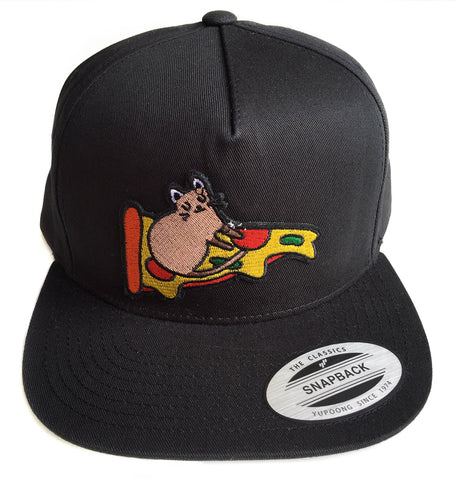 Pizza Rat Black Snapback Cap, Well Done Goods