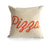 Pizza Throw Pillow, Script Print. Orange on natural cotton. Well Done Goods.