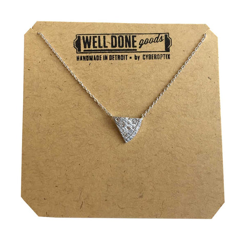 Pizza Slice Pendant Necklace, silver.  Well Done Goods