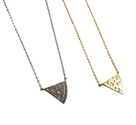Tiny Pizza Slice Pendant Necklaces.  Well Done Goods