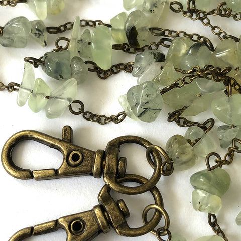 Prehnite & Epidote Mask Chain, tumbled stone chip mask holder
