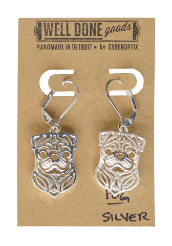 Pug Silver Dangle Earrings, Well Done Goods