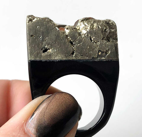 Pyrite Raw Stone Ring, Well Done Goods