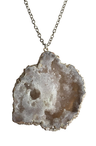 Druzy Quartz Geode Slice Pendant, Silver Plate, Well Done Goods