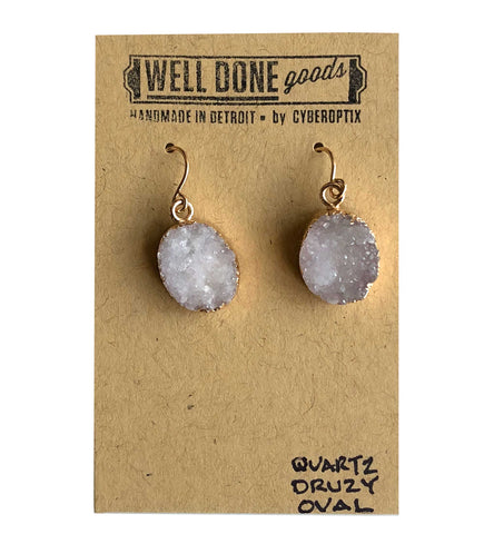 Oval Quartz Druzy Drop Earrings