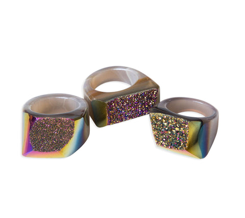 Rainbow Titanium Coated Carved Agate Druzy Rings, Well Done Goods
